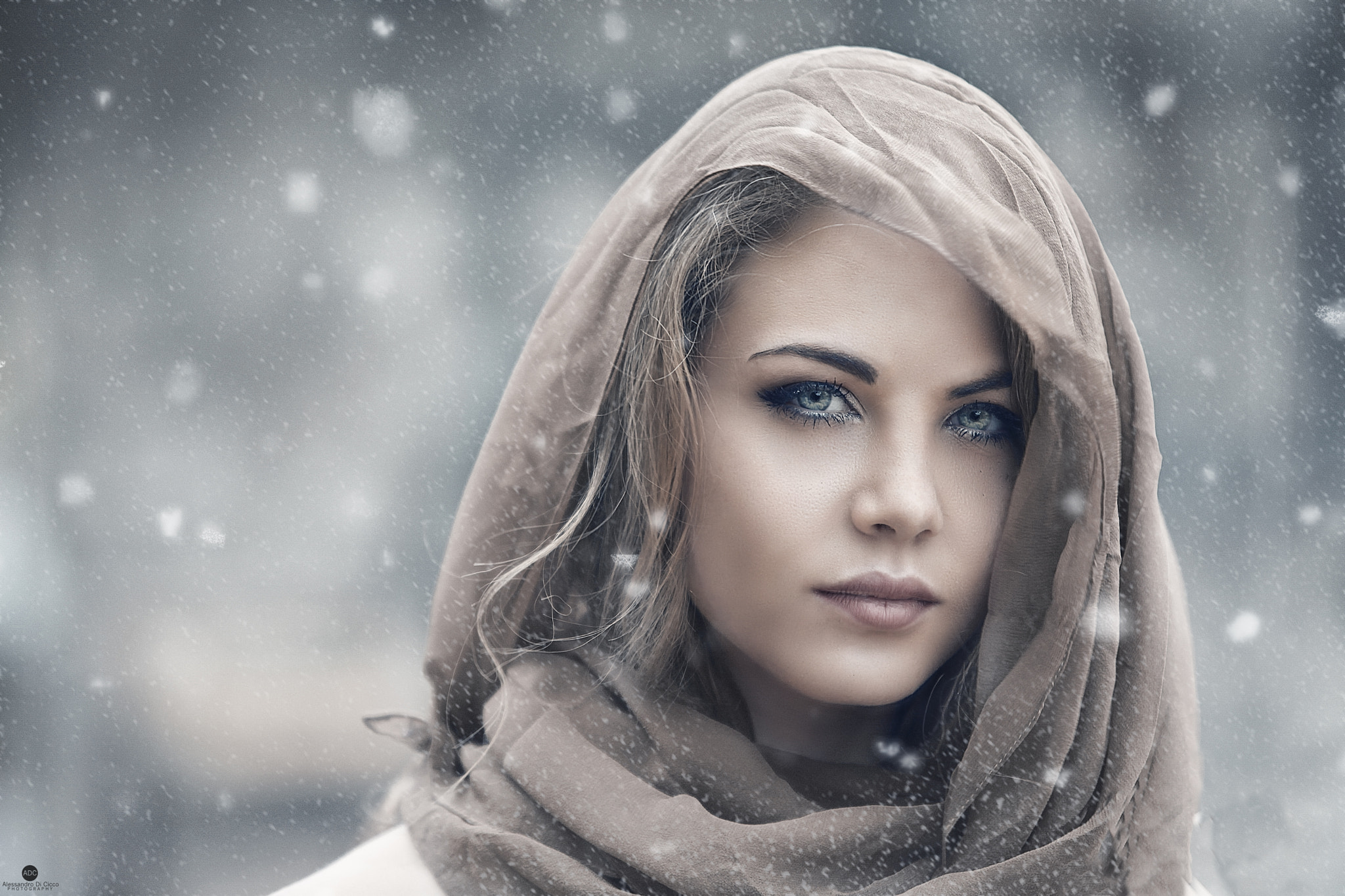 Beautiful eye girl with scarf