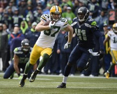 January 18, 2015; Seattle, WA, USA; Green Bay Packers wide receiver Jordy Nelson (87) runs the ball against the Seattle Seahawks during the first half in the NFC Championship game at CenturyLink Field. Mandatory Credit: Kyle Terada-USA TODAY Sports