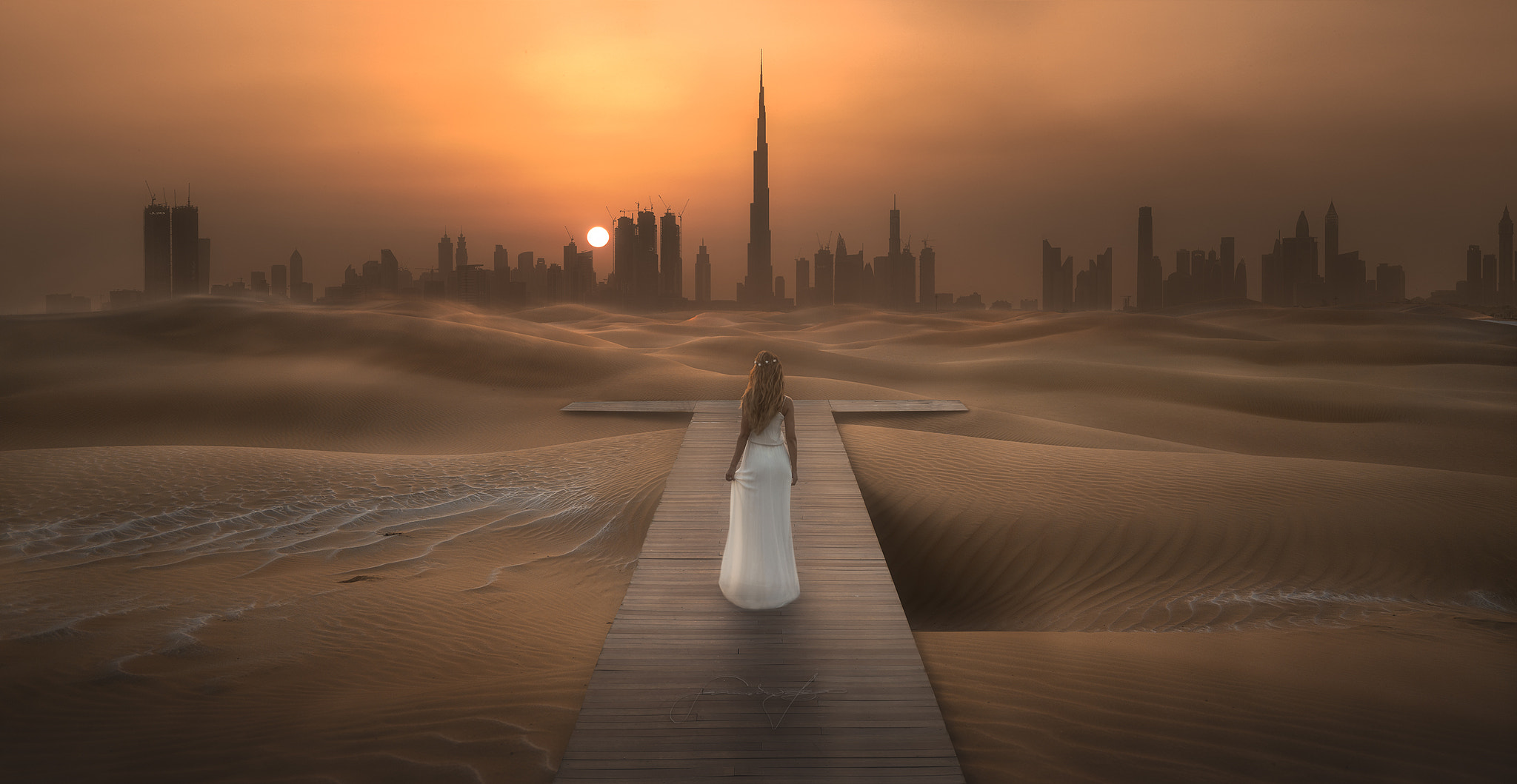 burj khalifa and girl