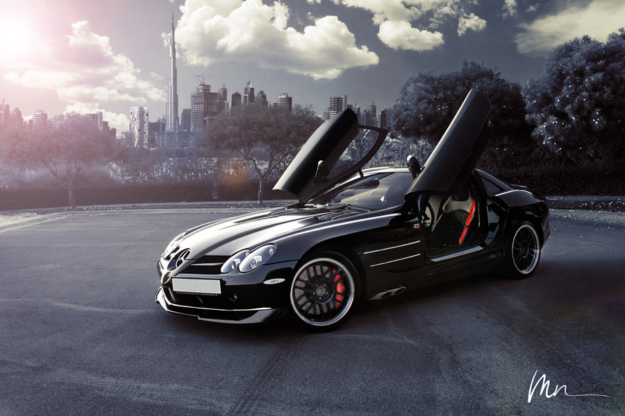 Luxury Mercedes SLR background Burj Khalifa