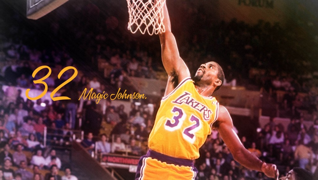 Guard Earvin (Magic) Johnson of the Los Angeles Lakers goes up for two during a game.