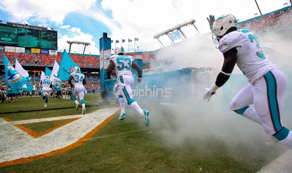 Miami Dolphins players enters the field during team introductions before the start of the game against the New England Patriots Sept. 07, 2014 in Miami Gardens. (Bill Ingram / Palm Beach Post)