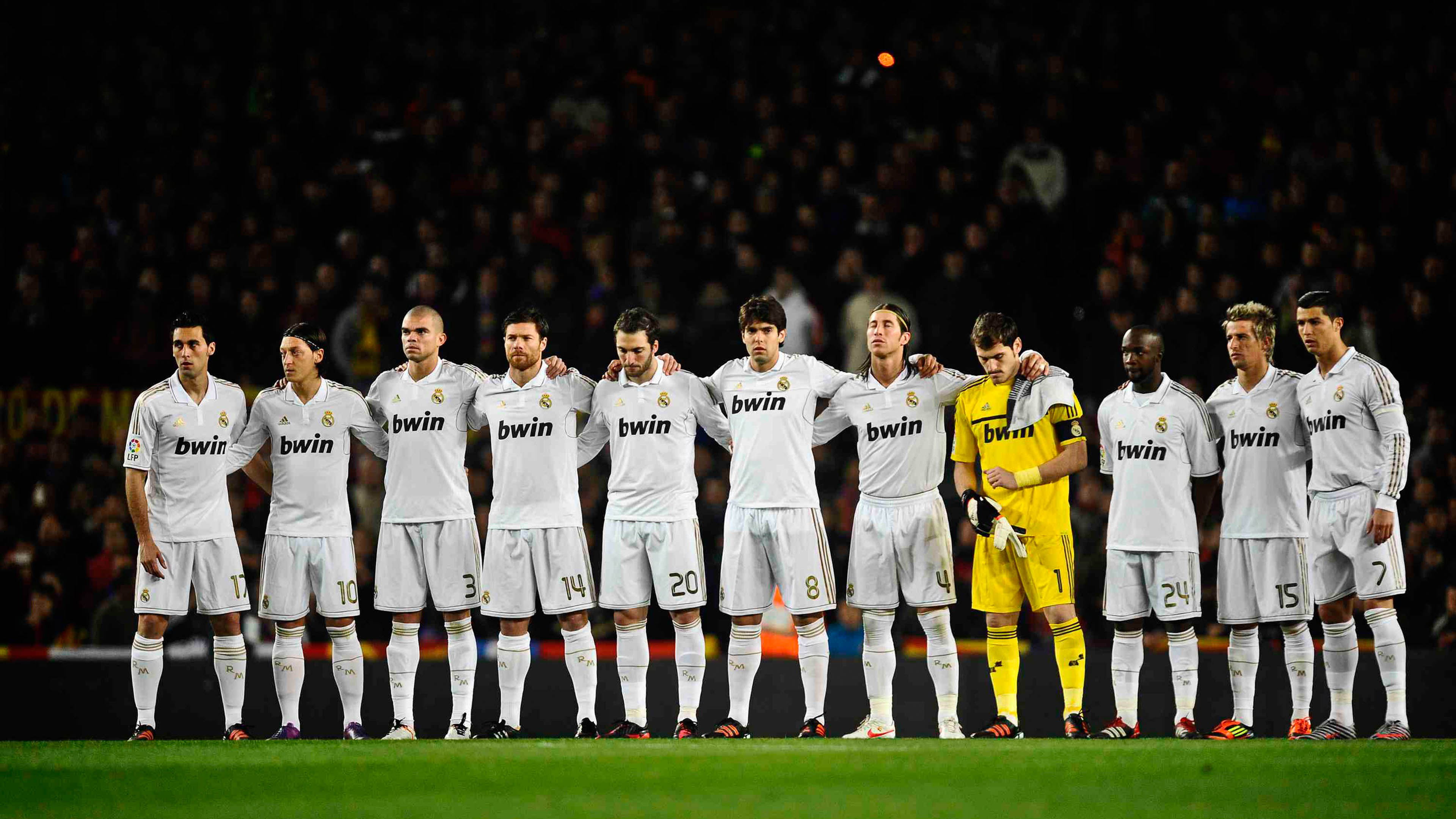 BARCELONA, SPAIN - JANUARY 25: Real Madrid players observe a minute's silence for the