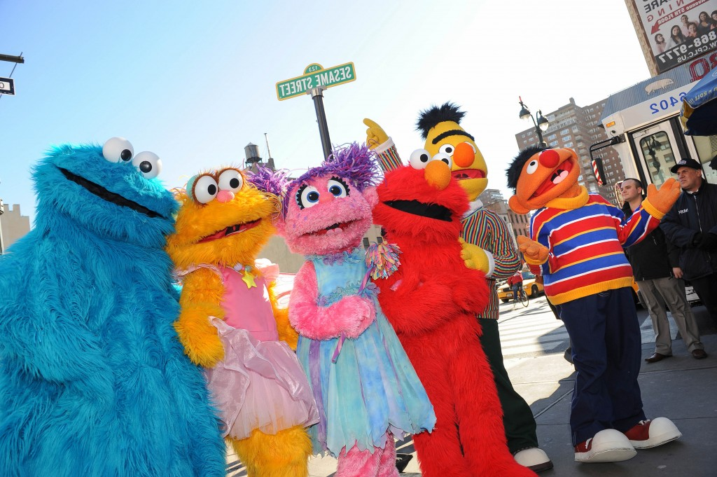 "Sesame Street Live charactors (L-R), Ernie, Bert, Elmo, Abby Cadabby, Zoe and Cookie Monster celebrate the renaming of the corner of 31st Street and Eighth Avenue to ""Sesame Street"" February 4, 2010 outside Madison Square Garden in New York. The theater production of Sesame Street Live runs from February 4-15 at the Theater at Madison Square Garden. AFP PHOTO/Stan Honda (Photo credit should read STAN HONDA/AFP/Getty Images)"