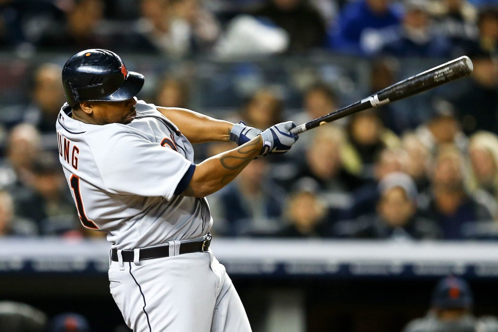 NEW YORK, NY - OCTOBER 13:  Delmon Young #21 of the Detroit Tigers hits a solo home run in the top of the eighth inning against the New York Yankees during Game One of the American League Championship Series at Yankee Stadium on October 13, 2012 in the Bronx borough of New York City, New York.  (Photo by Al Bello/Getty Images)
