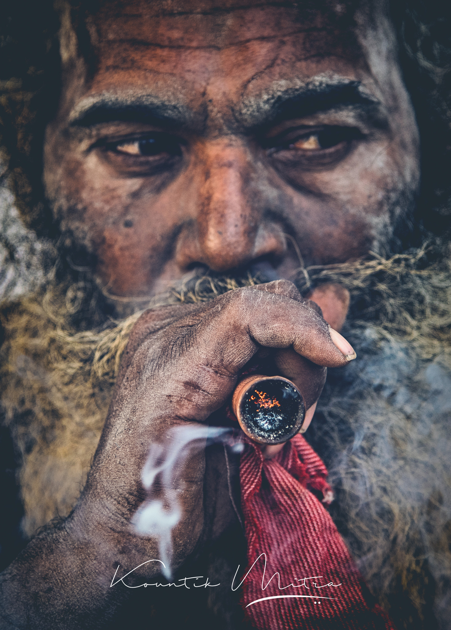 Old man smoking weed