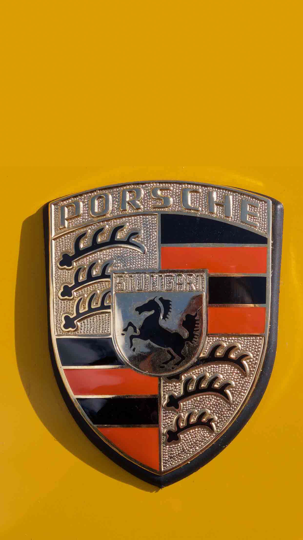 Porsche Yellow logo wallpaper for android
